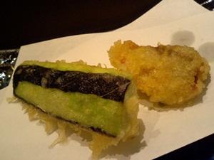 鶏肉とナスの天ぷら